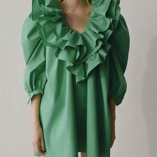 Fashion women's dress Spring Laminated Poplin Cropped Sleeve Dress NHAM200112's discount tags