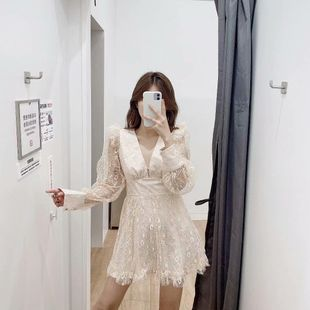 Fashion women's dress vacation style v-neck lace dress wholesale NHAM200114's discount tags