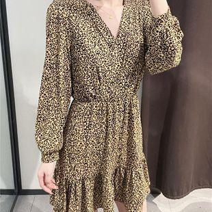 Fashion women's dress wholesale spring new leopard print V-neck dress women NHAM200116's discount tags