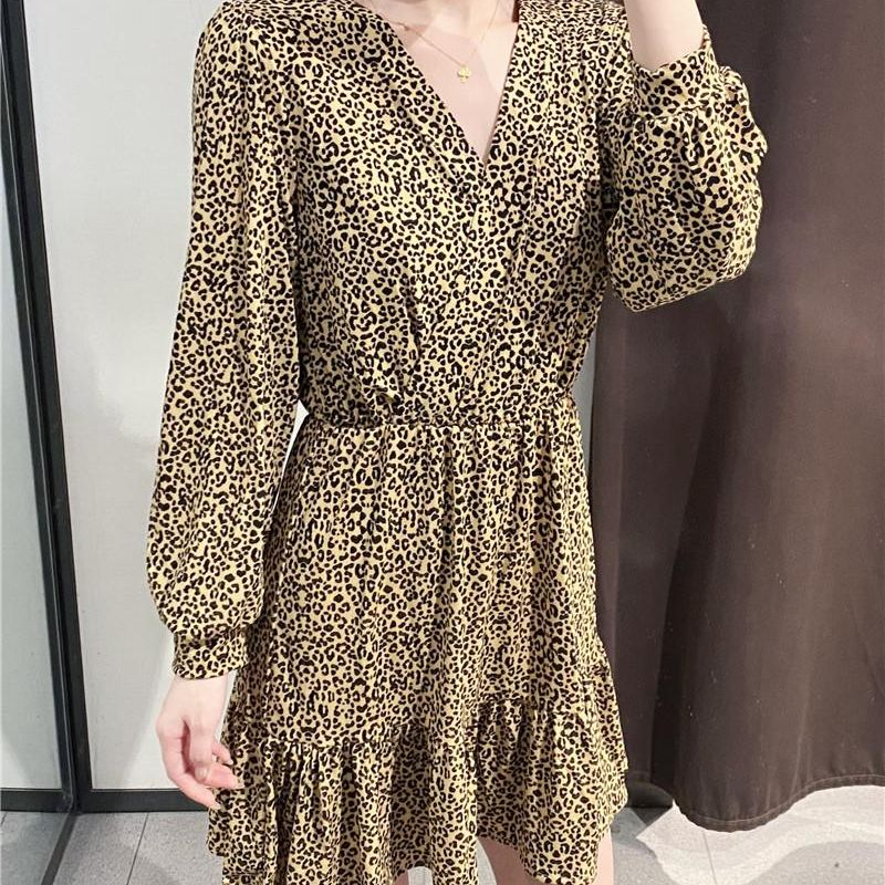 Fashion women's dress wholesale spring new leopard print V-neck dress women NHAM200116