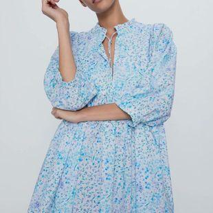Fashion women's dress wholesale spring printed poplin cropped sleeve dress NHAM200117's discount tags