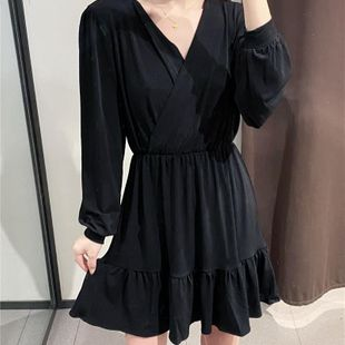 Fashion women's dress wholesale spring and summer new packaged ruffled pleated skirt long sleeve dress NHAM200118's discount tags