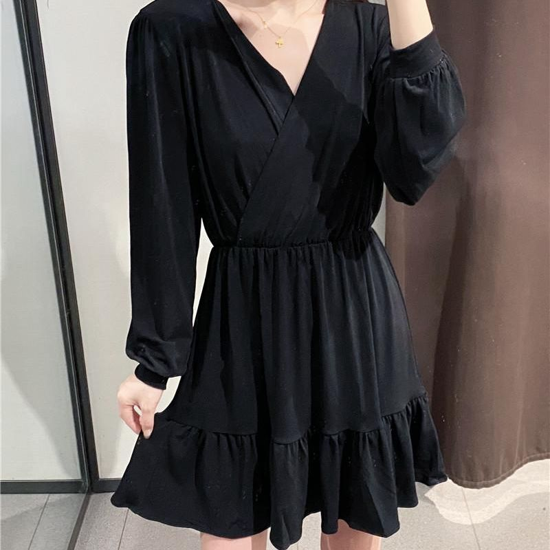 Fashion women's dress wholesale spring and summer new packaged ruffled pleated skirt long sleeve dress NHAM200118