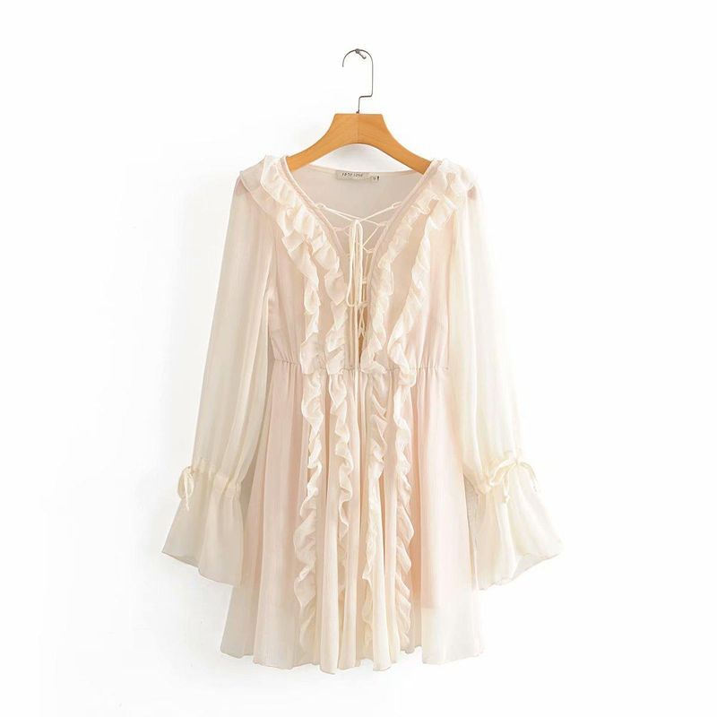 Fashion women's dress wholesale Neckline tied rope dangling court style multilayer ruffled flowing dress NHAM200119