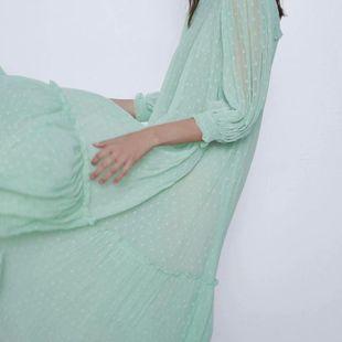 Fashion women's dress wholesale spring tulle temperament long sleeve long dress NHAM200125's discount tags