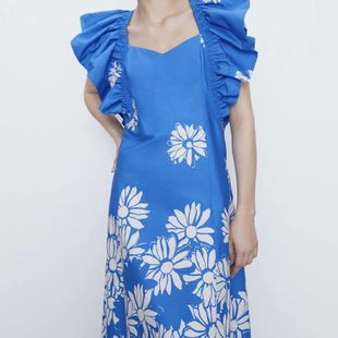 Fashion women's dress wholesale spring printed poplin small flying sleeve dress NHAM200126's discount tags