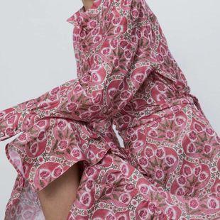 Fashion women's dress wholesale Spring Print Midi Long Sleeve Belt Dress NHAM200127's discount tags