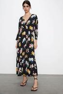 Fashion womens dress wholesale spring flower print long sleeve vneck lace dress NHAM200133