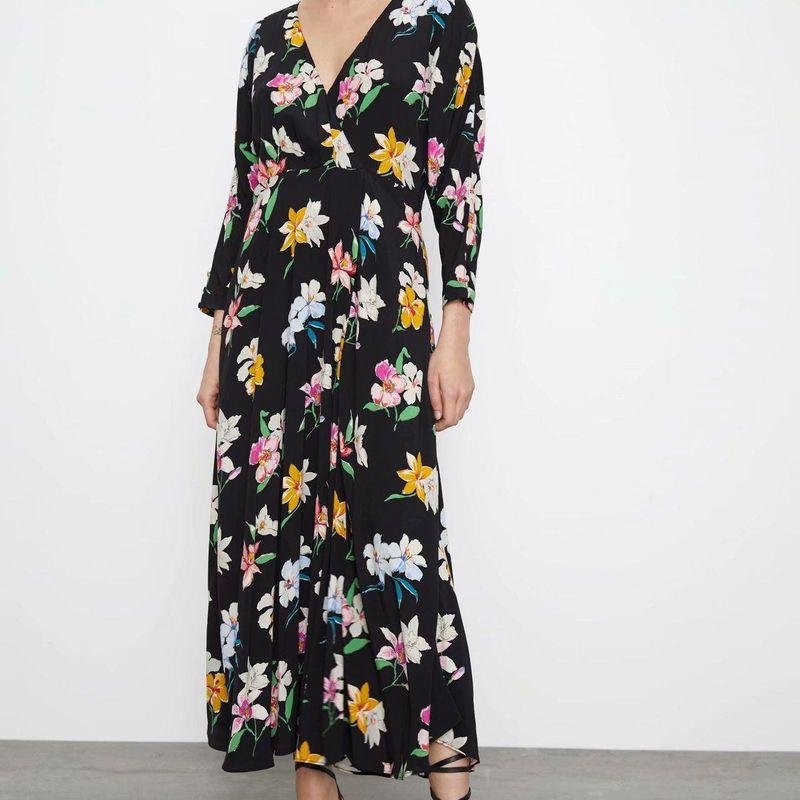 Fashion women's dress wholesale spring flower print long sleeve v-neck lace dress NHAM200133