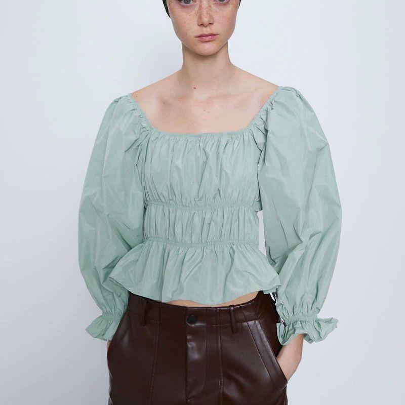 Fashion women's shirt spring big round face stretch blouse NHAM200134