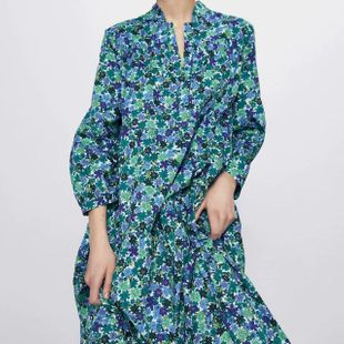 Fashion women's dress wholesale spring flower print long sleeve dress NHAM200135's discount tags
