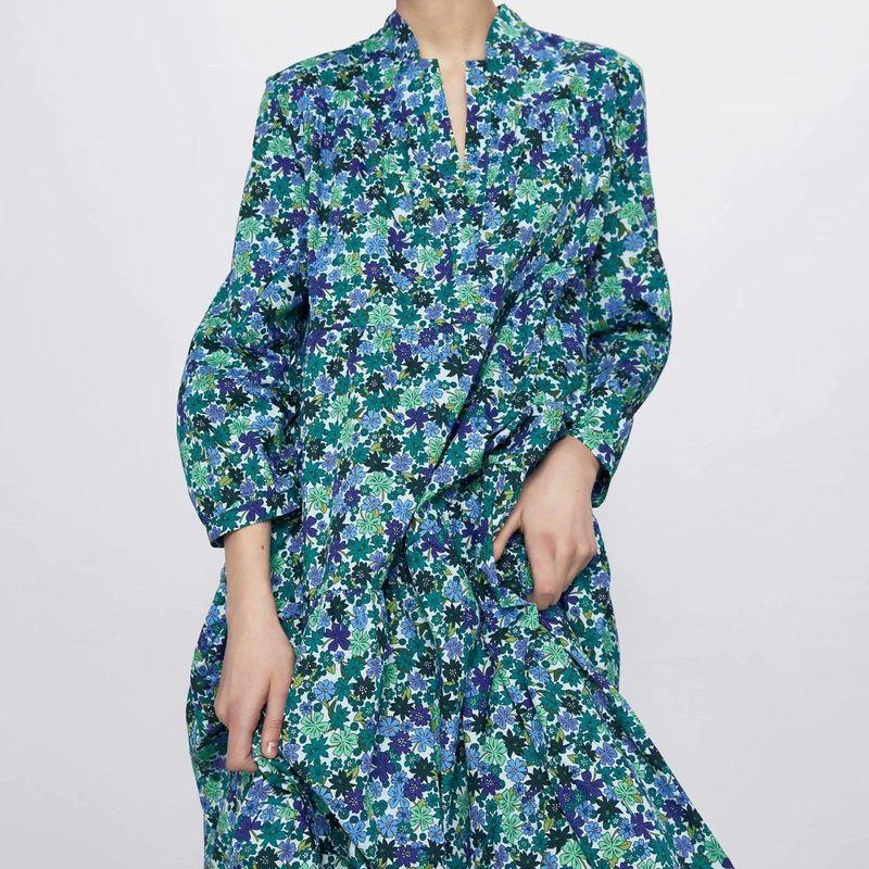 Fashion women's dress wholesale spring flower print long sleeve dress NHAM200135