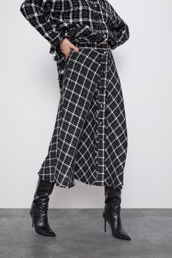 Fashion women's dress wholesale women's metal color twill tweed skirt mid-length skirt women NHAM200136