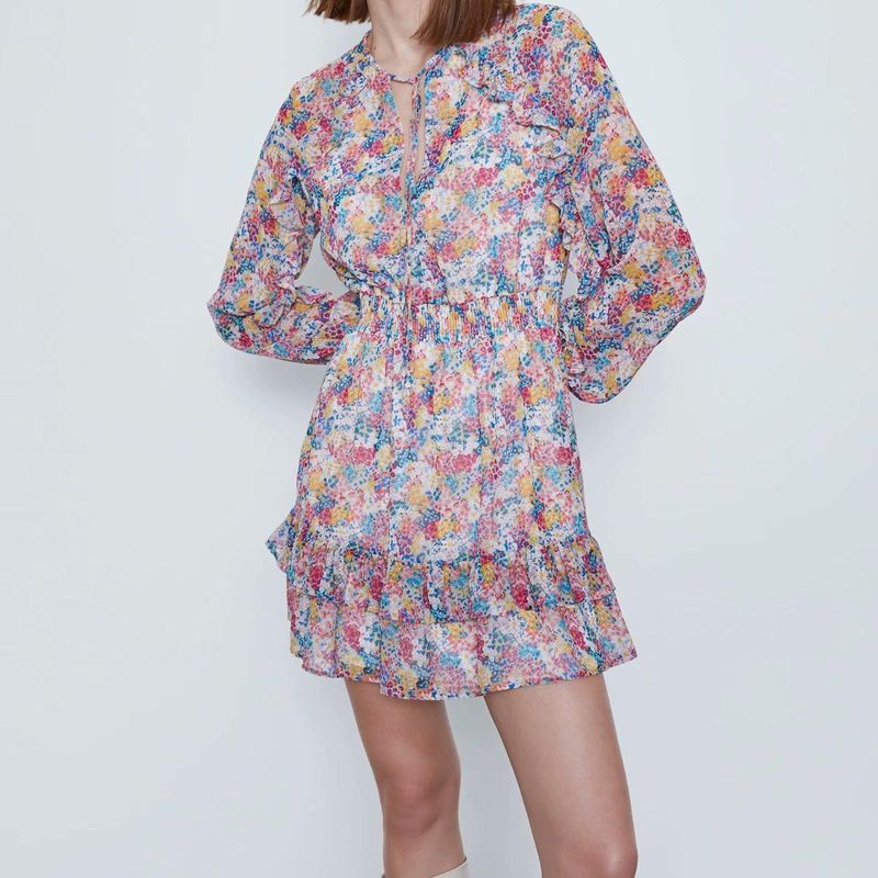 Fashion women's dress wholesale spring laminated decorative printed long-sleeved sweet dress NHAM200137