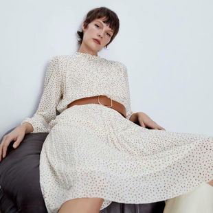 Fashion women's dress wholesale Polka Dot Long Sleeve Long Dress with Spring Belt NHAM200138's discount tags