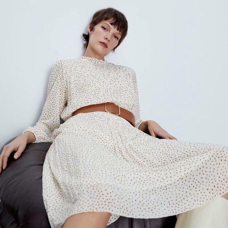 Fashion women's dress wholesale Polka Dot Long Sleeve Long Dress with Spring Belt NHAM200138