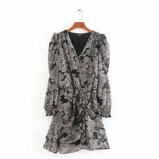 Fashion women's dress wholesale spring pleated waist ruffled long sleeve dress NHAM200139's discount tags