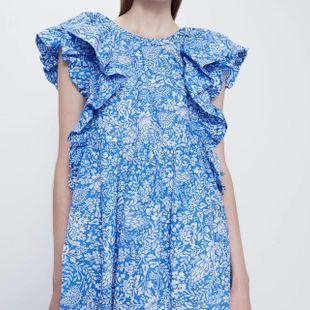 Fashion women's dress wholesale spring printed laminated sleeveless baby shirt dress NHAM200141's discount tags