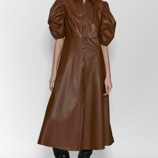 Fashion Wholesale New Retro-Breasted Long Dress Women's Faux Leather Shirt Dress NHAM200142's discount tags