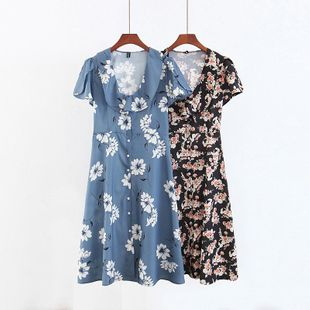 Fashion Wholesale Spring Niche Vacation Wind Cloak Floral Dress NHAM200144's discount tags