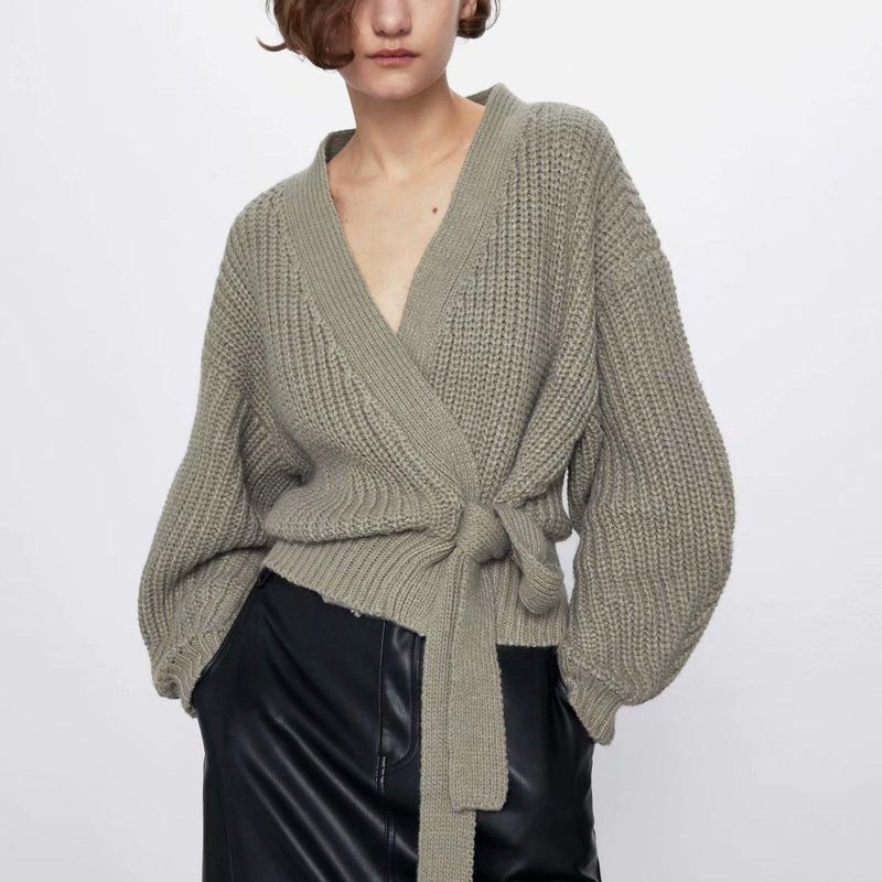 Wholesale new spring short women's sweater coat with belt NHAM200146