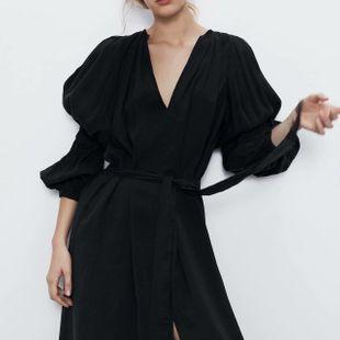 Fashion Wholesale Spring Puff Sleeve Long Sleeve Dress NHAM200148's discount tags