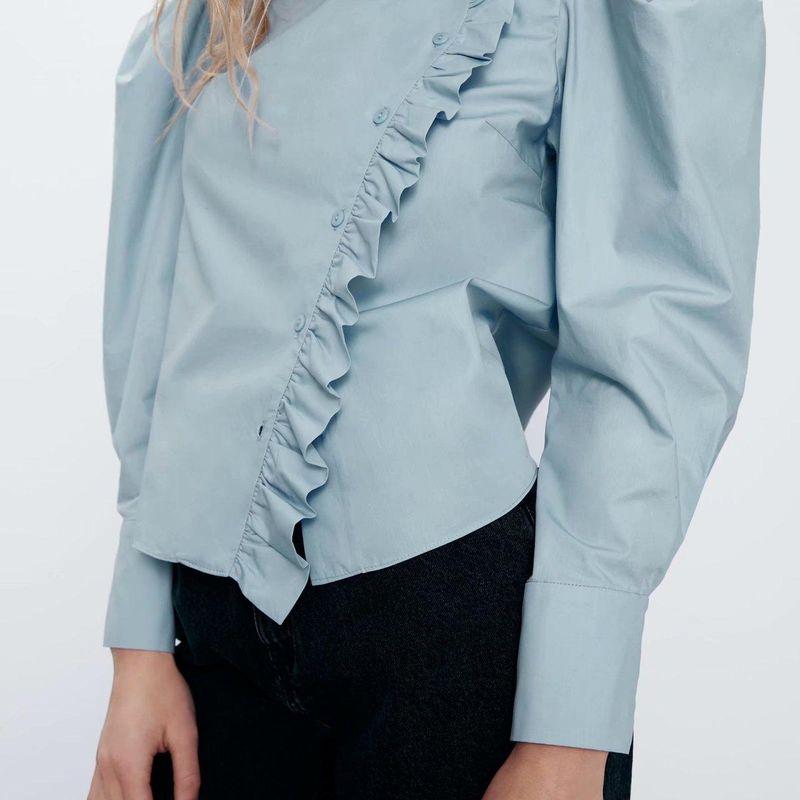 Fashion women's shirt wholesale spring decorative poplin blouse NHAM200150