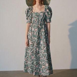 Fashion Wholesale Midi Puff Sleeve Print Dress  NHAM200151's discount tags
