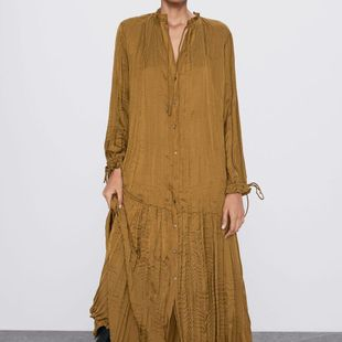 Fashion Wholesale wrinkle effect silk satin texture dress NHAM200152's discount tags