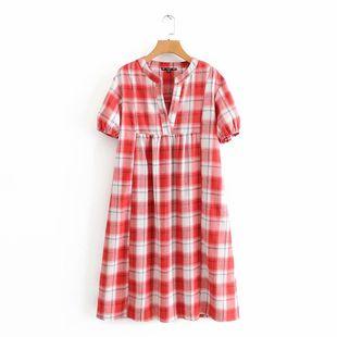 Fashion women's dress wholesale spring checked V-neck dress NHAM200153's discount tags