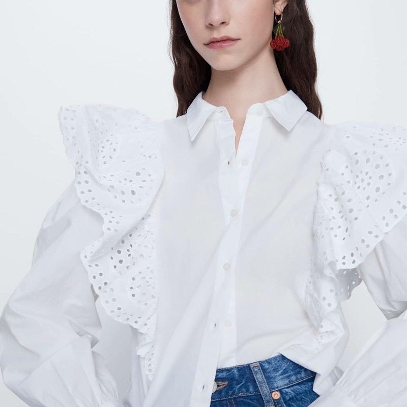Fashion women's shirt spring hollow embroidery poplin blouse tops wholesale NHAM200156