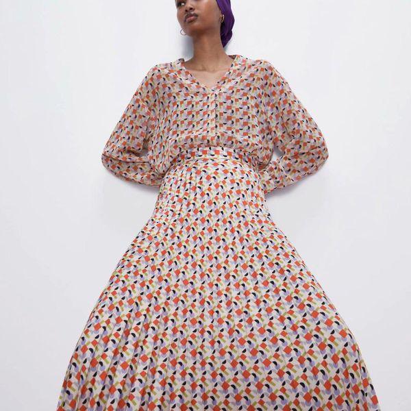 Fashion women's dress wholesale spring printed pleated skirt chiffon printed skirt NHAM200157