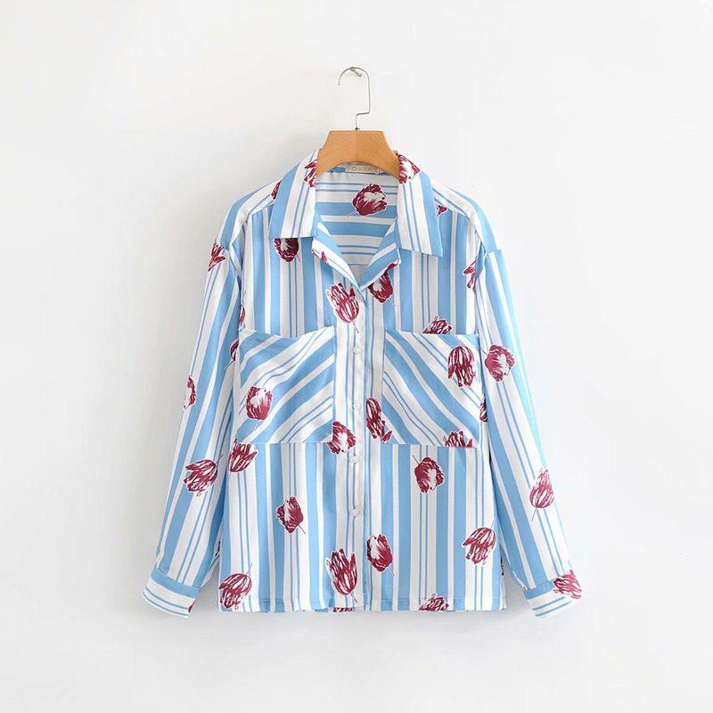 Wholesale Spring and Autumn Lapel Long Sleeve Flower Stripe Double Pocket Loose Shirt NHAM200162