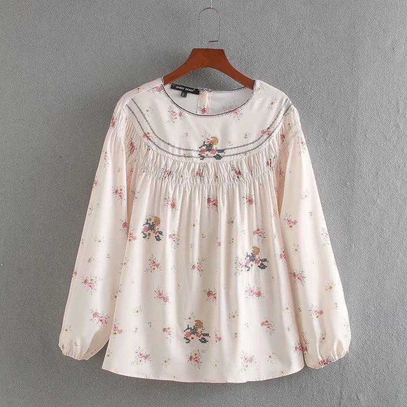 Wholesale Spring Embroidered Women's Print Round Neck Shirt Top NHAM200164