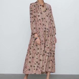 Early spring new fashion trend wild Slim loose printed dress wholesale NHAM200168's discount tags