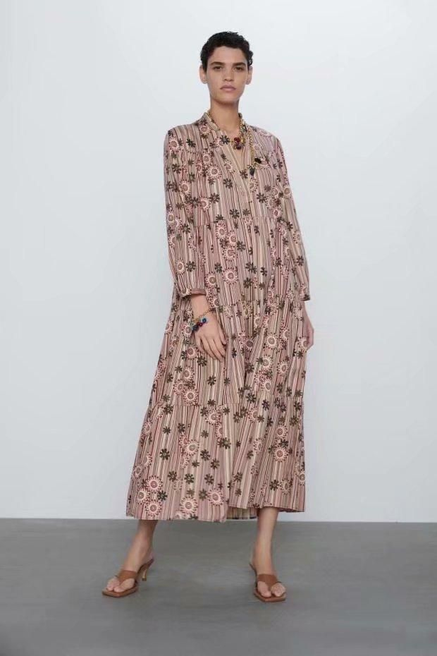 Early spring new fashion trend wild Slim loose printed dress wholesale NHAM200168