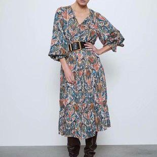 Fashion women's dress new spring printed midi long sleeve long dress wholesale NHAM200169's discount tags