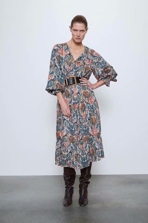 Fashion women's dress new spring printed midi long sleeve long dress wholesale NHAM200169