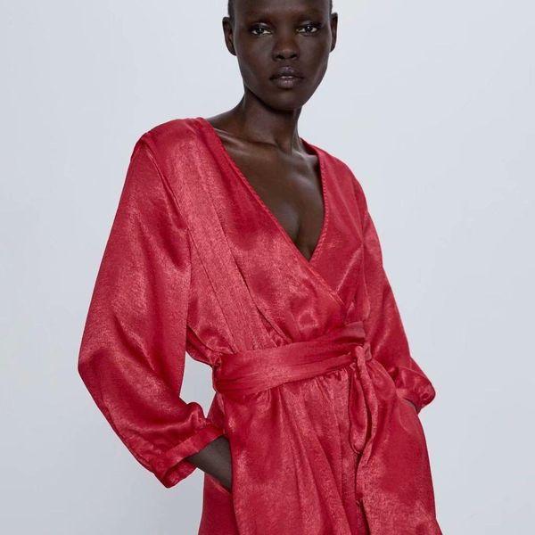 Wholesale new women's bow-tie silk satin texture jumpsuit NHAM200171