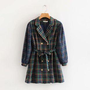 Fashion women's dress wholesale new plaid mesh sleeve dress NHAM200173's discount tags