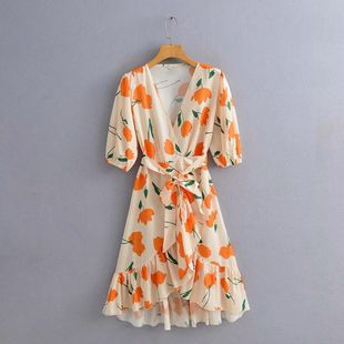 Fashion women's dress wholesale spring new V-neck tulip print ruffled lace dress NHAM200174's discount tags