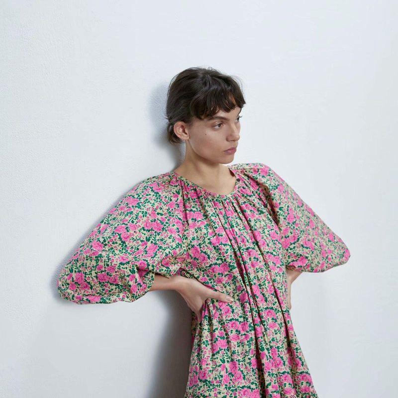 Fashion womens dress spring loose print middle sleeve loose dress wholesale NHAM200175