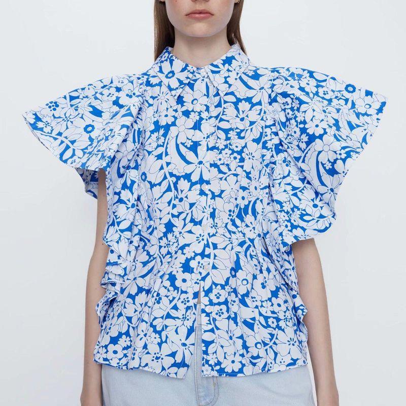 Wholesale spring printed poplin small flying sleeve shirt shirt NHAM200177