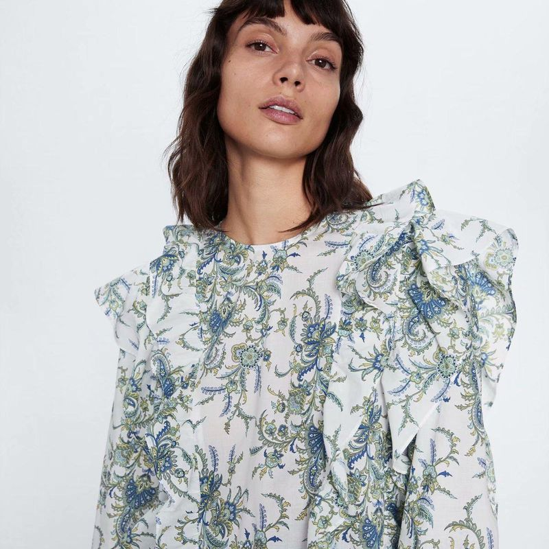 Wholesale Spring Laminated Decorative Print Blouse Top NHAM200178