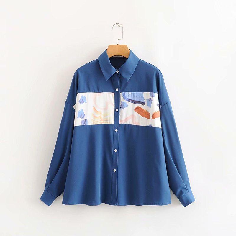 Fashion wholesale peacock blue stitching shirt NHAM200180