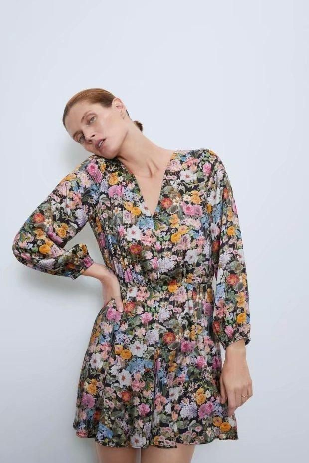 Fashion women's dress wholesale spring loose print long sleeve dress NHAM200181