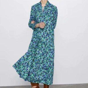 Fashion women's dress wholesale new floral print mid-length temperament dress NHAM200182's discount tags
