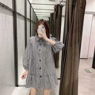 Fashion women's dress Wholesale Spring Plaid Loose Long Sleeve Dress NHAM200184's discount tags