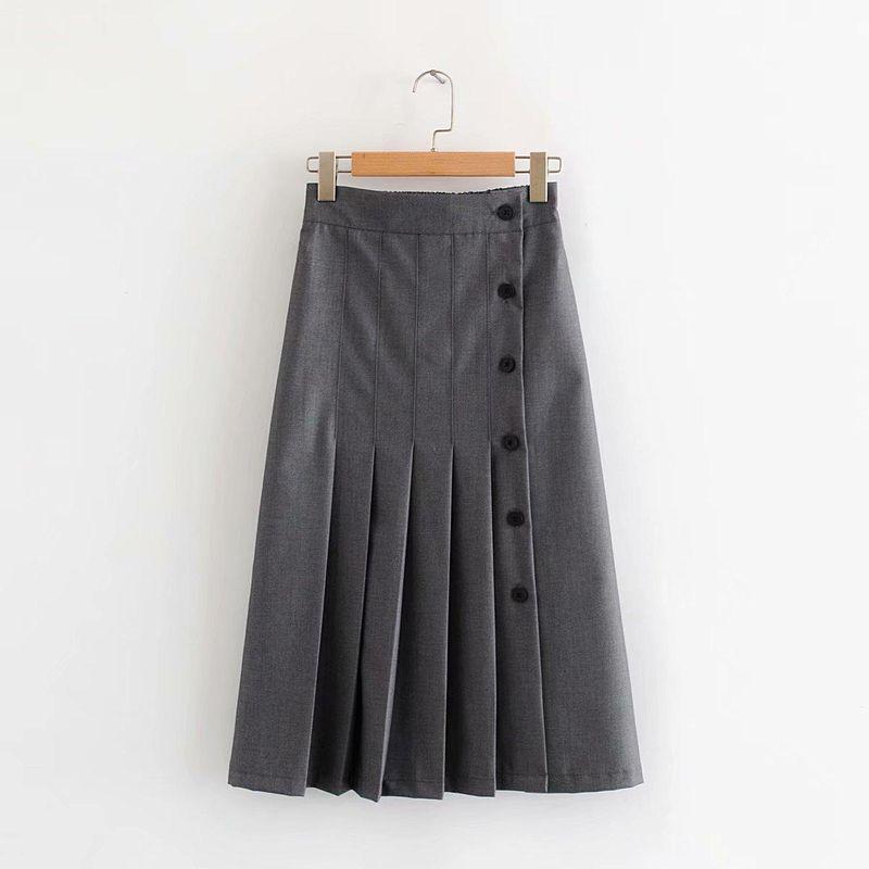 Fashion women's dress wholesale side-breasted pleated skirt NHAM200186