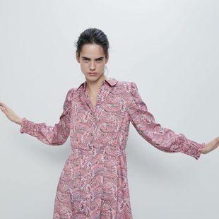 Fashion women's dress wholesale spring shirt print dress NHAM200187's discount tags